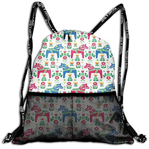 Drawstring Backpack bags, Classic Swedish Dalecarlian Coral Azure Blue Animals And Green Floral Arrangement