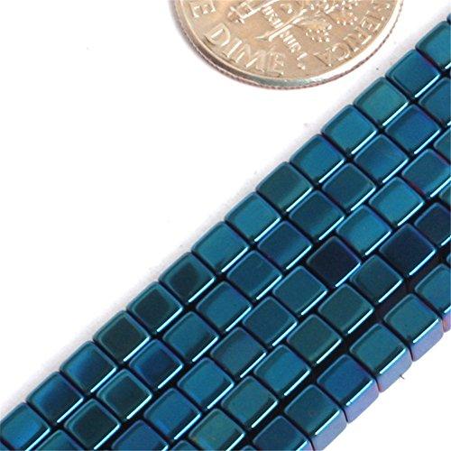 GEM-inside Hematite Gemstone Loose Beads Cube Blue Metallic Coated Crystal Energy Stone Power For Jewelry Making 15