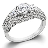 1 3/4ct Round Three Stone Pave Diamond Engagement Ring 14k White Gold - Size 5
