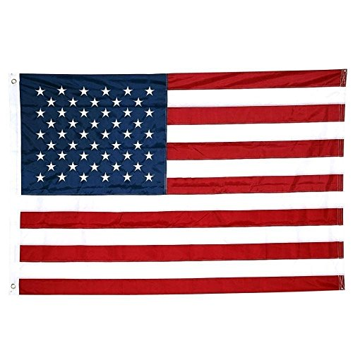 American Flag 3x5 ft- Heavy Duty 210D Nylon US Flag Outdoor Made in USA- Embroidered Stars, Sewn Stripes, Brass Grommets, Waterproof Durable Material with UV Protection