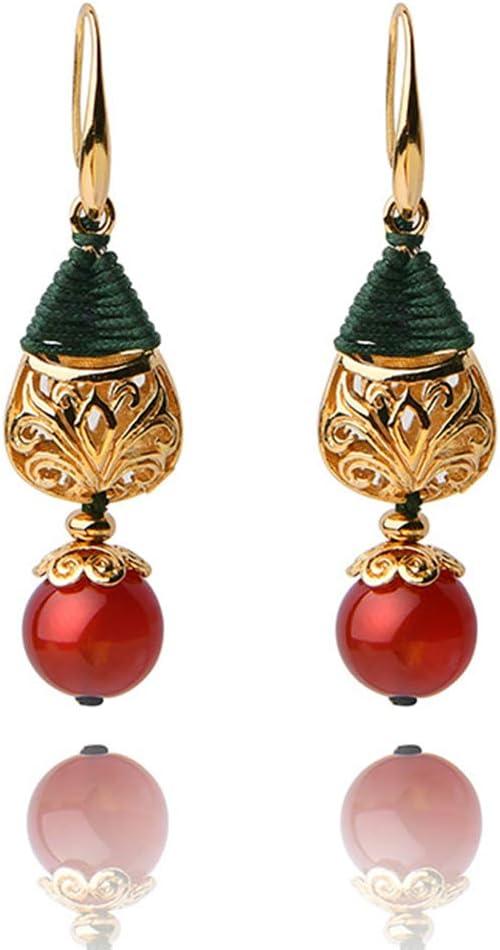 J.Memi's Natural Ágata Pendientes Piedra Preciosa Aretes Diseño Creativo Hecho A Mano Plateado Oro 14K Joyería Accesorios Regalo