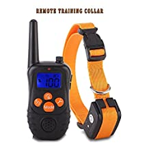 Dog Training Collar, Colisivan Adjustable Harmless Warning System Anti Bark Tone Electric Rechargeable and Waterproof Dog Training Shock Control Ultrasonic Collar with Remote Control