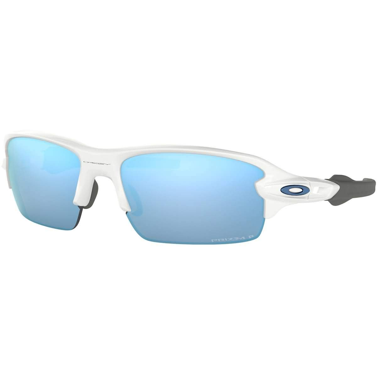 Oakley Boys OJ9005 Flak XS Rectangular Sunglasses, Polished White/Prizm Deep H2O Polarized, 59 mm by Oakley
