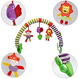 BSTCAR Baby Pram Toy, Plush Cartoon Animal Stroller Toy Arch Cot Toys for Baby,, Universal Attachment Clips Fit any Pram