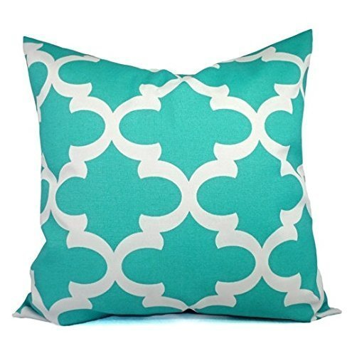 Outdoor Patio Pillow Cover - Teal and White Pillow Cover in Quatrefoil Print - Custom Sizes Available