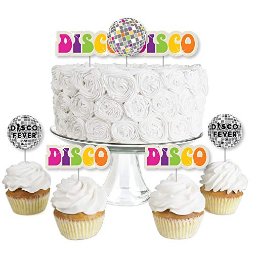 Disco Ball Cake Topper (70's Disco - Dessert Cupcake Toppers - 1970s Disco Fever Party Clear Treat Picks - Set of)