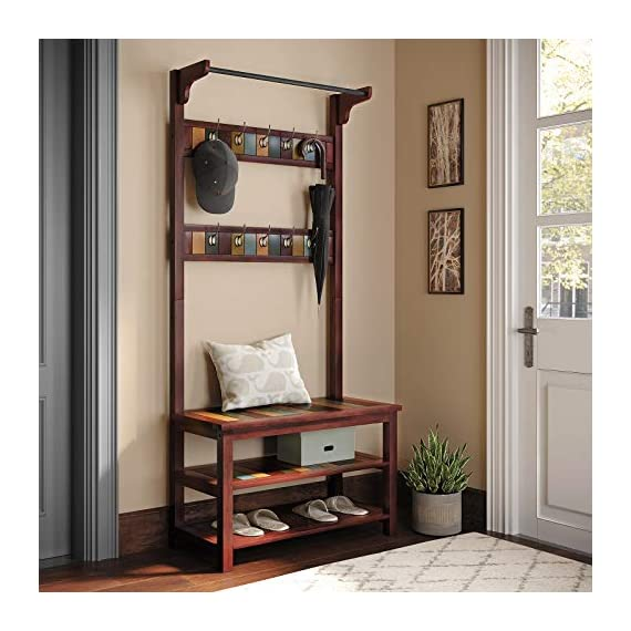 VASAGLE Hall Tree, Coat Rack Shoe Bench with 10 Dual Hooks, 2 Storage Shelves, Entryway Organizer with Solid Wood Frame, Country Brown URCR06GL - A POP OF COLOR: Brown, yellow, green, blue-find your favorite hue on the charming colorful boards surrounded by a dark country brown and perk up your entryway with this hall tree to show your personality WELCOME HOME: Leave your heavy coat, bag, and keys to the 10 dual hooks, shoes to the 2 storage shelves, sit down on the shoe bench, let the fatigue stop on this all-in-one coat rack, and start a relaxing night with a pair of cozy slippers STABILITY? NO WORRIES: Relax and sit! With a solid wood frame and engineered wood shelves, you're in good hands on this shoe bench that can hold 264 lb; so are the clothes, hats, and shoes, as each metal hook holds 11 lb, and each storage shelf 66 lb - hall-trees, entryway-furniture-decor, entryway-laundry-room - 51E5s2Ms7sL. SS570  -