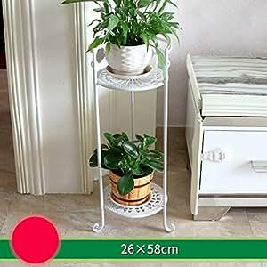 soporte de hierro flor Marco de flores de hierro de varios pisos piso de estilo balcón cubierta sala de estante de flores verde radix orquídeas ollas Balcón estantes de plantas ( Tamaño : 26*58cm )