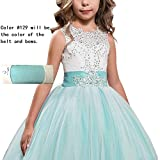APXPF Long Tulle Flower Girl Dress Pageant Dresses Kids Prom Puffy Ball Gown Aqua Child10