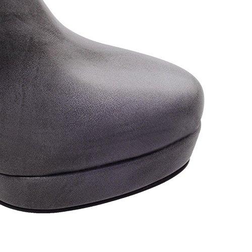 AgooLar Damen Reißverschluss Rund Zehe Hoher Absatz Niedrig-Spitze Stiefel Grau