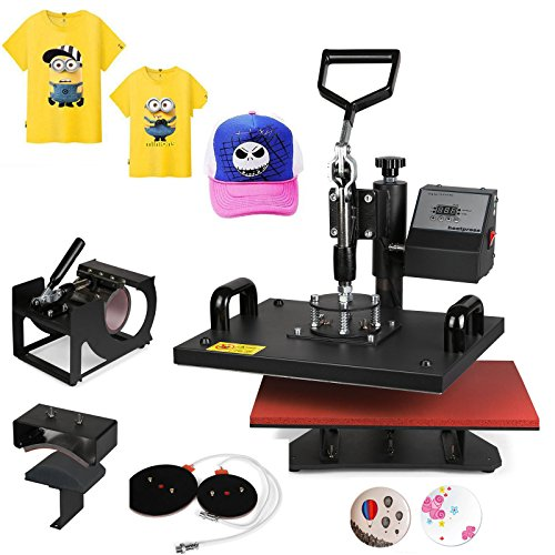 Mophorn Heat Press 5 in 1 12' x 15' Heat Press Machine Swing-away Design Heat Press Machine for T Shirts DIY Cup Mug Digital Display (5pcs)