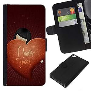 EJOY---La carpeta del tirón la caja de cuero de alta calidad de la PU Caso protector / HTC Desire 820 / --Amor Te Amo