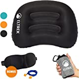 Eltrek Ultralight Inflatable Travel/Camping Pillow with Sleep Mask & Ear Plugs Set – Compressible, Compact, Comfortable, Ergonomic Air Pillow for Neck & Back Support (Black) Review