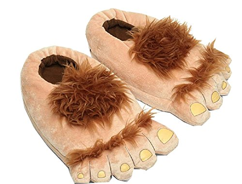 Cinyifan Cute Funny Soft Warm Feet Slippers House Cotton Sliper Indoor Shoes (Kids Hobbit Feet)