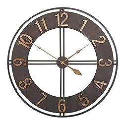 Studio Designs Home Industrial Loft 15 Inches Metal Wall Clock, Dark Bronze/Bronze