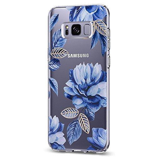 Carcasa para Samsung Galaxy S8/S8 Plus, diseño de flores, fina, a prueba de golpes, transparente, suave, flexible, silicona...