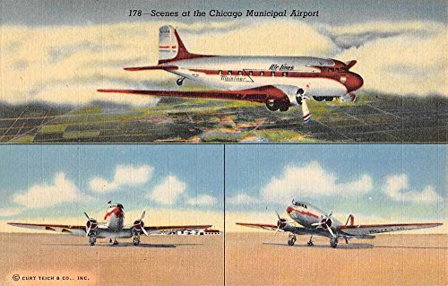 Chicago Illinois Municipal Airport Multiview Antique Postcard - Chicago Airports Illinois