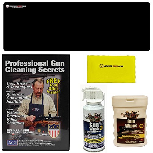 AGI DVD Professional Gun Cleaning Course Secrets Browning Superposed, Auto-5 Standard, Gold Shotgun HI-POWER + Ultimate Arms Gear Bench Gun Mat + Gun Wash + Silicone Cloth + Wipes