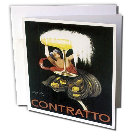- 3dRose Vintage Contratto Advertising Poster - Greeting Cards, 6 x 6 inches, set of 6 (gc_129925_1)
