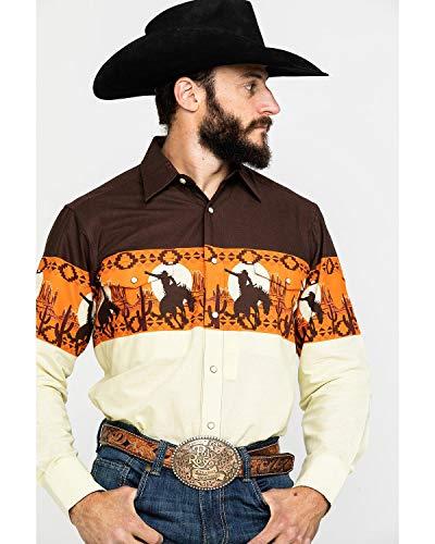 Panhandle Men's Scenic Aztec Border Print Snap Long Sleeve Western Shirt Brown Small (Border Western Shirt)