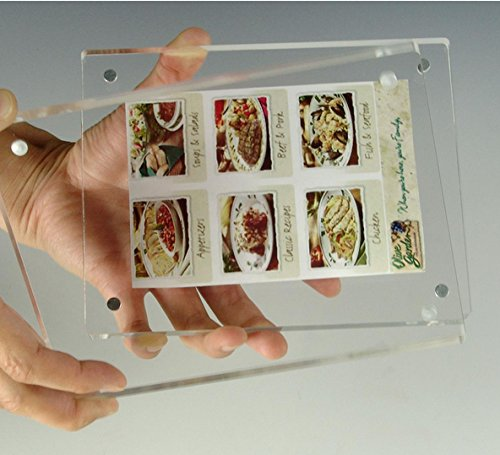 FixtureDisplays 4 x 6 Magnetic Picture Frame for Tabletop, Double Sided Box - Clear Acrylic 19184 19184