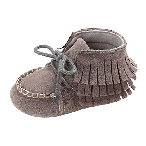 Hunpta Baby Neugeborene Troddel Soft Sole Schuhe Jungen Mädchen Anti-Rutsch Kleinkind Krippe Prewalker (6 ~ 12 Monate, Gray) Gray