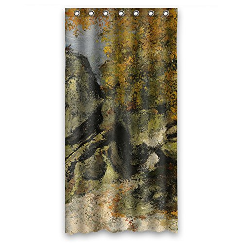 MaSoyy Paul Cezanne - Rochers Dans La Foret Fontainebleau Bathroom Curtains Polyester Best For Valentine Boys Boys Bf. Rust Proof Width X Height / 36 X 72 Inches / W H 90 By 180 Cmfabri