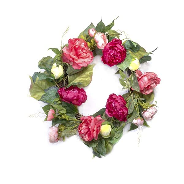 Red Co. Artificial Peony Garden, Spring Floral Natural Twig Wreath - Home Decor for Front Door or Indoor Wall - 22""