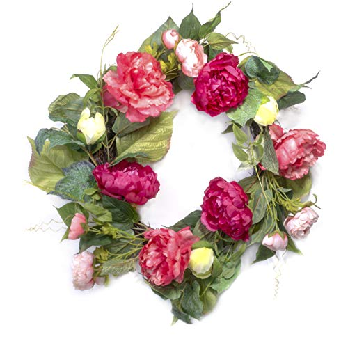 Red Co. Artificial Peony Garden, Spring Floral Natural Twig Wreath - Home Decor for Front Door or Indoor Wall - 22