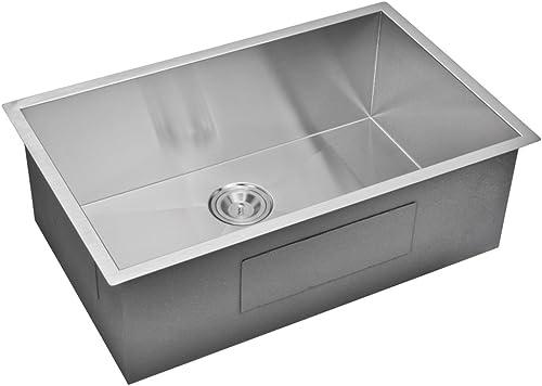 Water Creation SS-US-3019A 30 X 19 Zero Radius Single Bowl Stainless Steel Hand Made Undermount Kitchen Sink Premium Scratch Resistant Satin Stainless Steel