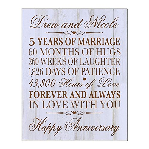 Personalized 5th Wedding Anniversary Wall Plaque Gifts for Couple, Custom Made 5th Anniversary Gifts for Her,5th Wedding Anniversary Gifts 12'' W X 15'' H Wall Plaque By LifeSong Milestones (DW) by LifeSong Milestones