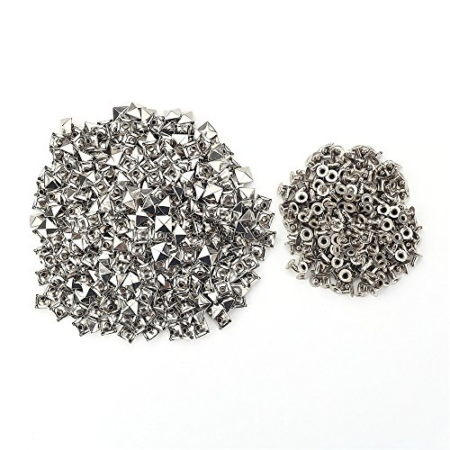 500 sets Silver Pyramid Studs Rivet Spike Spots Square Leather Craft DIY Rock - Studs Pyramid Metal