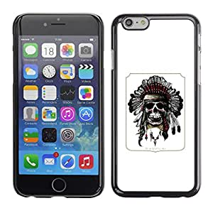 MobileHut / Apple Iphone 6 Plus 5.5 / Indian Feather Headdress Native American / Delgado Negro Plástico caso cubierta Shell Armor Funda Case Cover