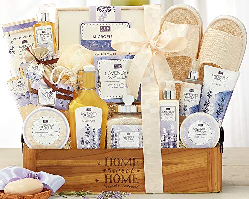 Lavender Vanilla Spa Experience Gift Basket Easter Gift Home Spa Gift Contains Bath Salts, Bath Caviar, Body Lotion, Body Scrub, Body Butter, Shower Gel, Bar Soap, Body Scrub and More ! by Wine Country Gift Baskets (Image #1)