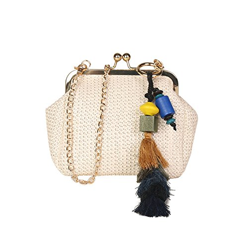 braided 2018 straw bag Brown messenger chain Fashion Fringe shoulder one bag XHSqw1CHx