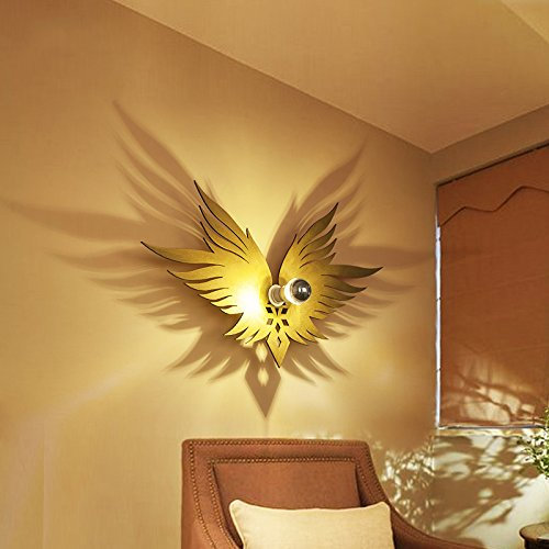 Jiuzhuo Artistic Decorative Gold Wooden Angel Wing 1-Light Kids Room Shadow Wall Light Lamp
