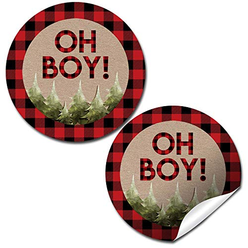 Oh Boy! Outdoorsy Red and Black Plaid Lumberjack Baby Sprinkle Baby Shower for Boys Thank You Sticker Labels, 40 2