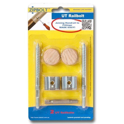 Zipbolt 13.610 UT Railbolt - Connects Staircase Handrails to Balusters, Spindles, Newels - 1 Pack - Includes 5mm Hex Bit with Quick Release Shank