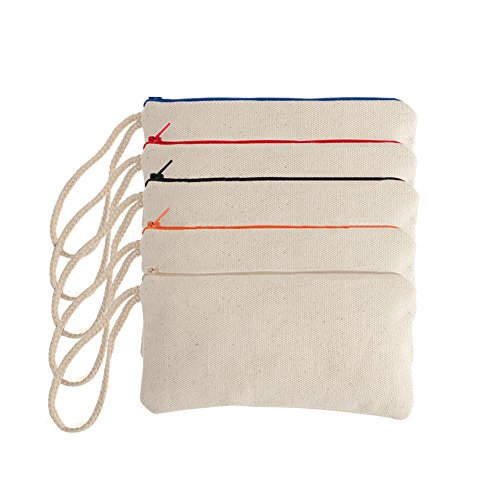 Aspire 1 Dozen Nature Cotton Canvas Zipper Pouch, Blank DIY