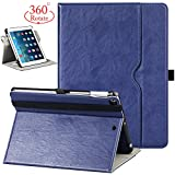 New iPad 9.7 Inch Universal 2017/2018 Case,360 Degree Rotating/PU Leather with Auto Wake/Sleep,Pencil Holder,Hand strap for New Apple iPad Education,iPad air case,iPad Air 2 cover with wallet-Blue