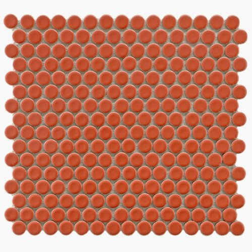 """SomerTile FKOMPR95 Penny Vermilio Porcelain Mosaic Floor and Wall Tile, 12"""" x 12.625"""", Red"""