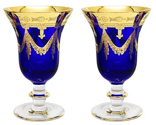 Cobalt Design Glass - Interglass - Italy, Cobalt Blue Crystal Wine Goblets, Vintage Design, 24K Gold Hand Decorated, 10 oz, Set of 2
