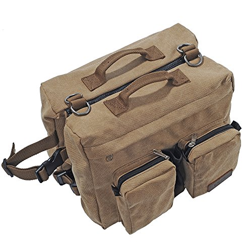 Lalawow Dog Pack Harness Canvas Saddle Bag For Outdoor Travel Training Camping Hiking (For Big Dog)