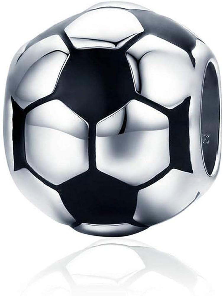 Abalorio de balón de fútbol 100% plata de ley 925, compatible con ...