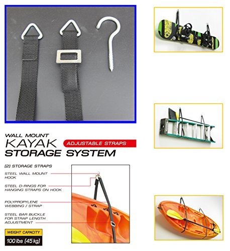 FITOOL Kayak Storage System, Canoes Wall Rack Holders, Adjustable Storage Straps Garage Hangers, 100LBS(45KGS) Weight Capacity, Skiing Board, Ladder, Canoes, Kayak Wall Mount Storage System by FITOOL (Image #3)