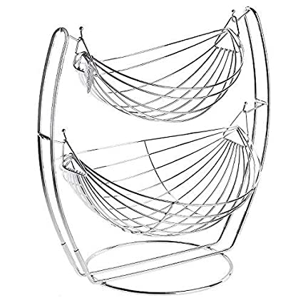 Produce Metal Basket Rack Display Stand Vegetables MyGift/Ã/'/Â/® by MyGift Black Double Hammock 2 Tier Fruit