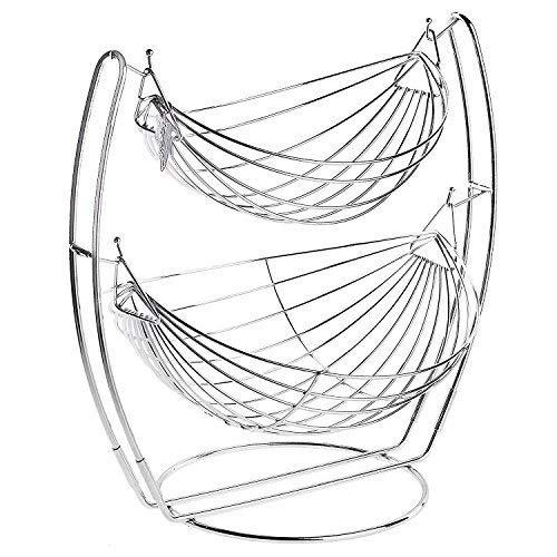 Two Tier Chrome Basket - MyGift Chrome Double Hammock 2 Tier Fruit/Vegetables/Produce Metal Basket Rack Display Stand