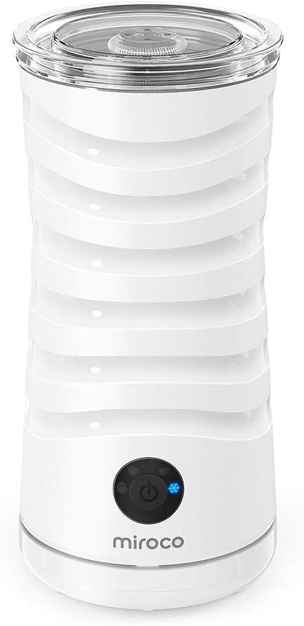 Milchaufschäumer Miroco Elektrischer Milch-Dampfer Milchschaum Doppelwandiger Milchwärmer mit extra Schneebesen Antihaft-Innenausstattung Strix-Steuerung Weiß