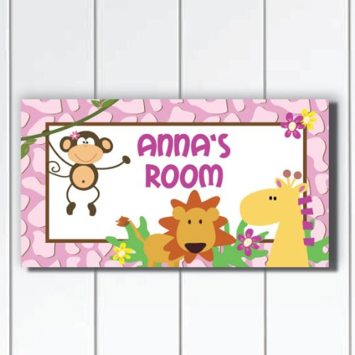 Kid O Pretty in Plum Jungle Safari Girls Bedroom Door Sign Plaque,