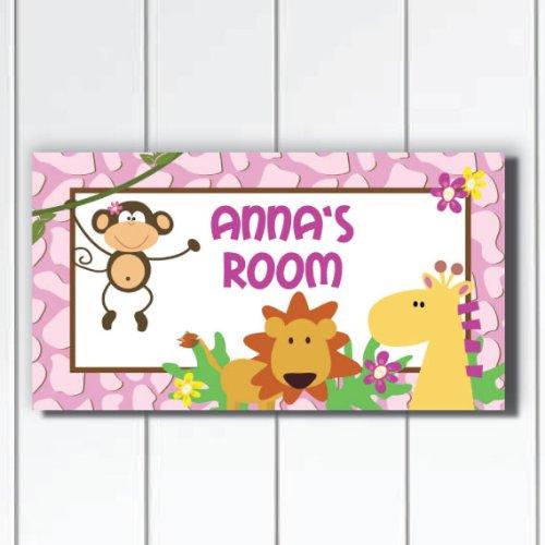Safari Door Plaque - Kid O Pretty in Plum Jungle Safari Girls Bedroom Door Sign Plaque,
